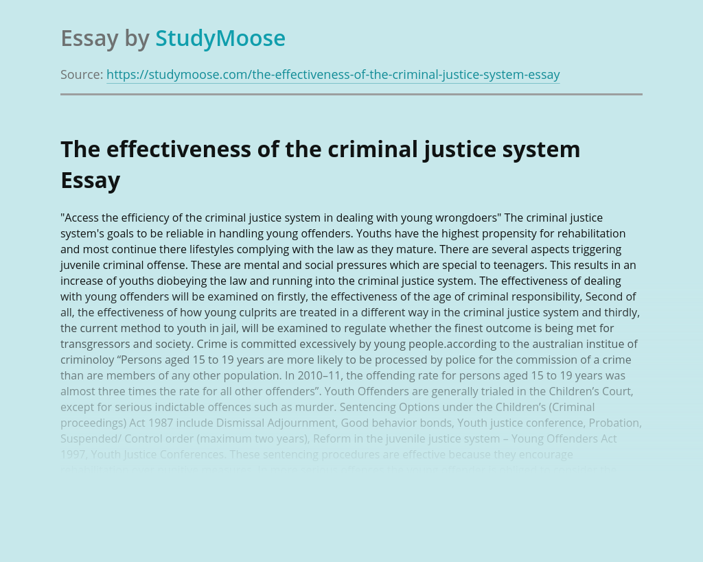 The effectiveness of the criminal justice system