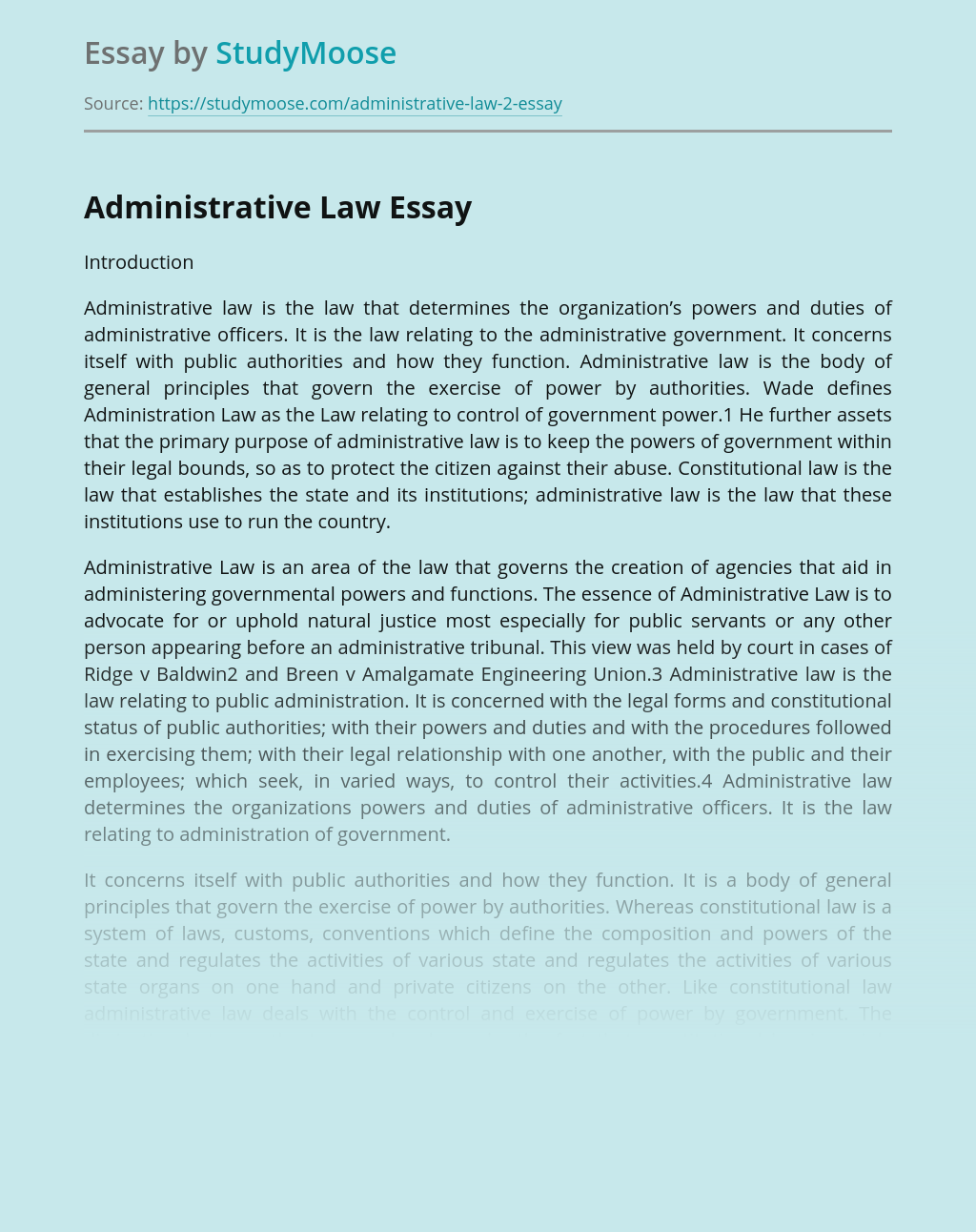 Nature and Purpose of Administrative law