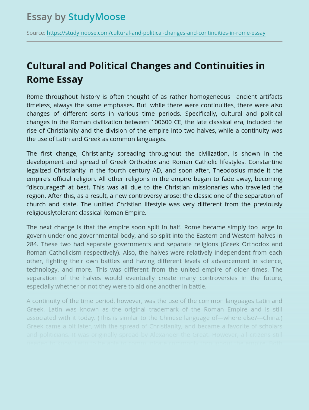Cultural and Political Changes and Continuities in Rome