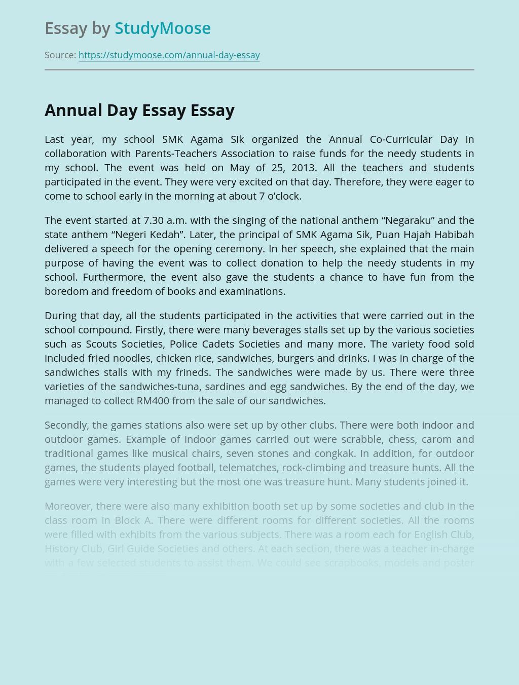 Annual Day Essay