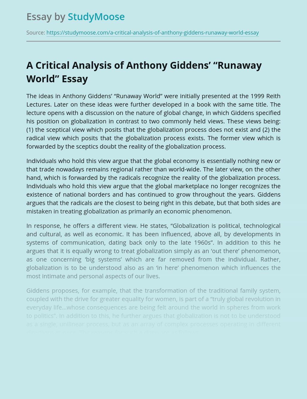 "A Critical Analysis of Anthony Giddens' ""Runaway World"""