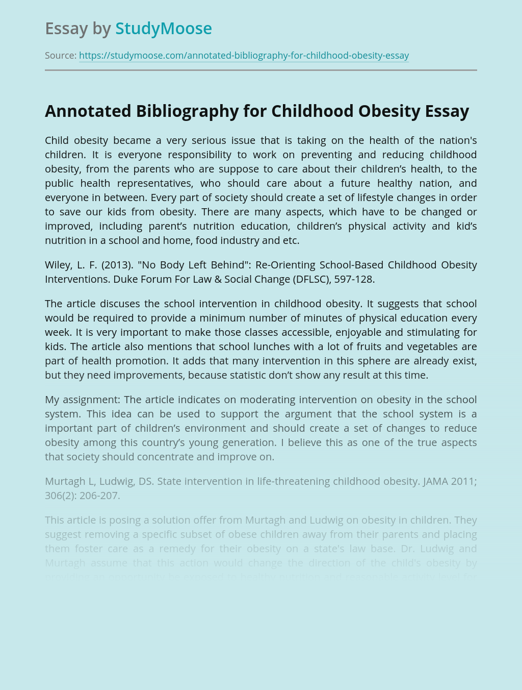 Annotated Bibliography for Childhood Obesity