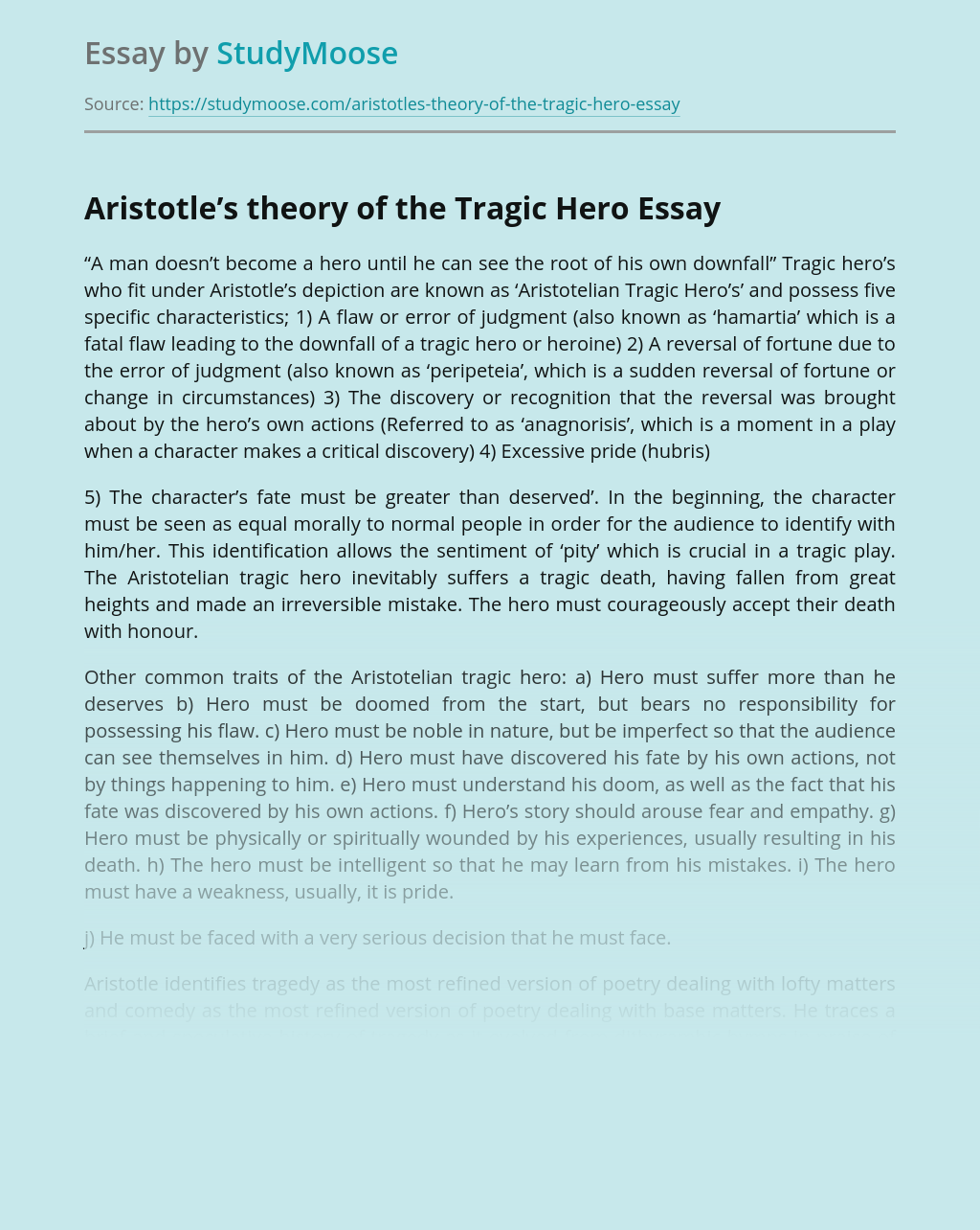 Aristotle's theory of the Tragic Hero