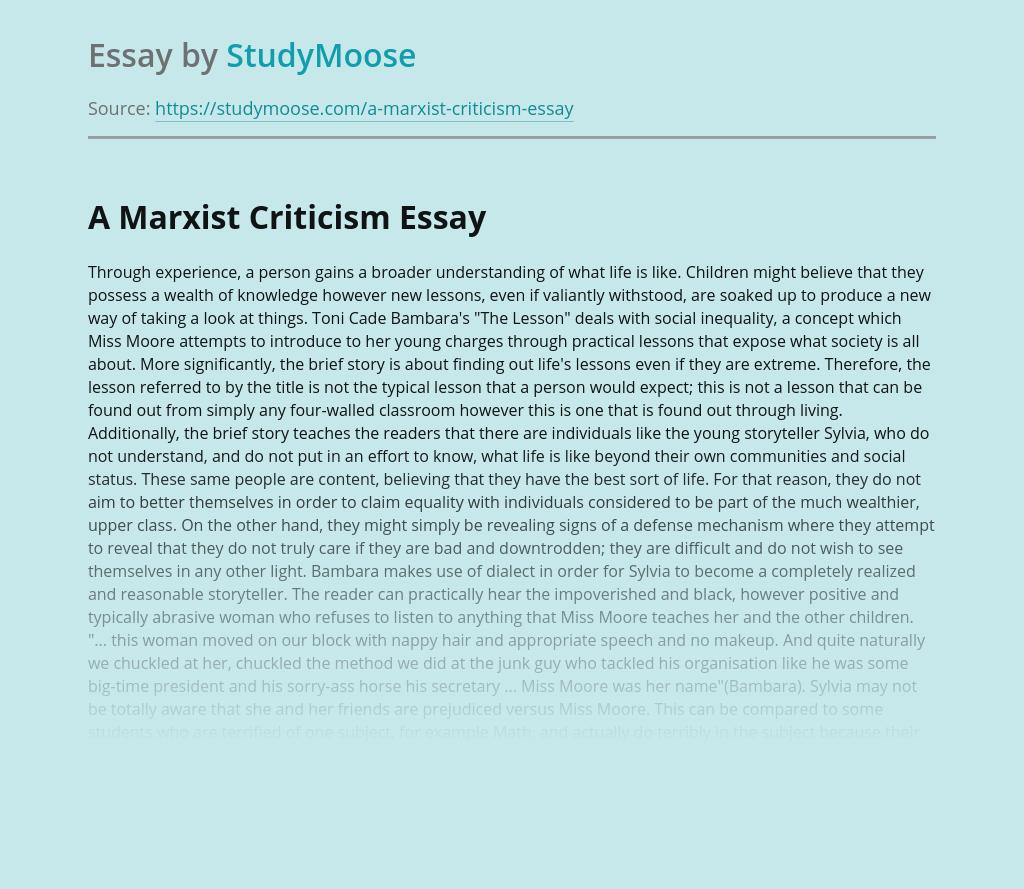 A Marxist Criticism