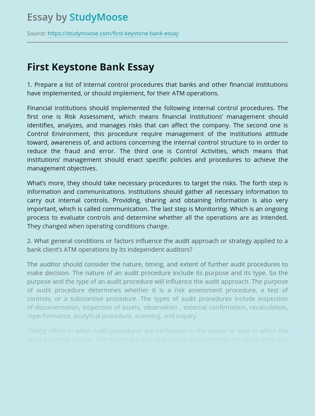 First Keystone Bank