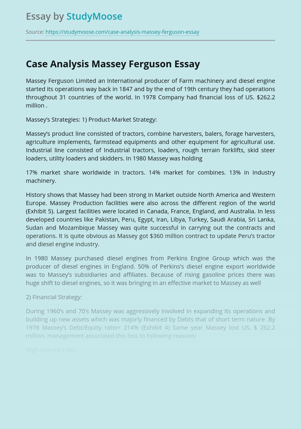 Case Analysis Massey Ferguson