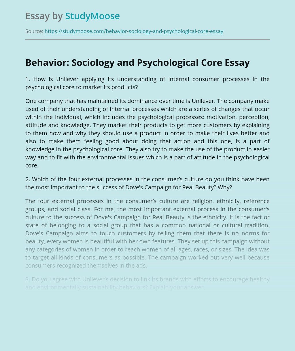 Behavior: Sociology and Psychological Core