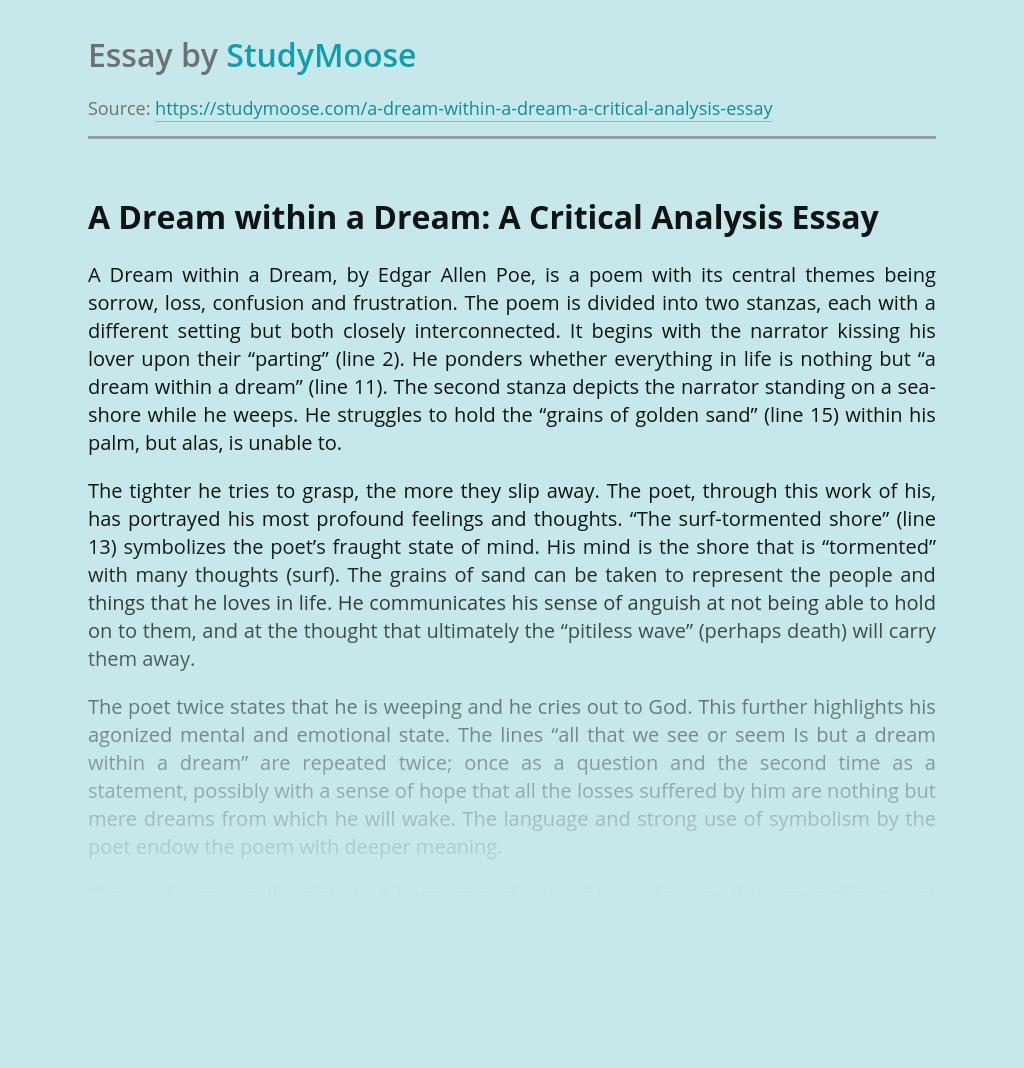 A Dream within a Dream: A Critical Analysis