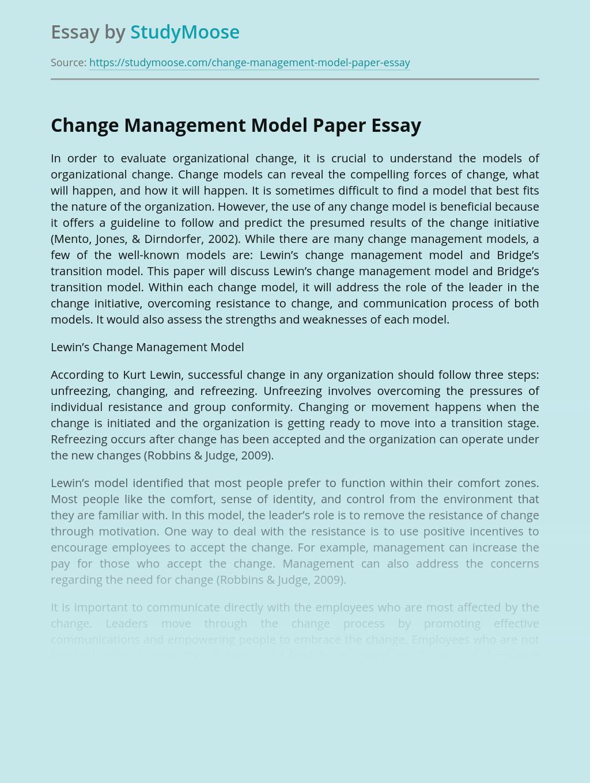 Change Management Model Paper