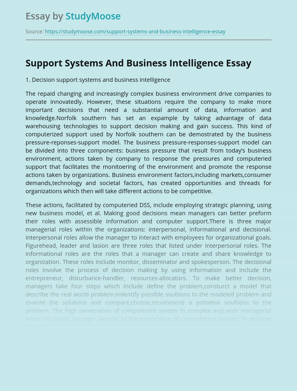 Support Systems And Business Intelligence