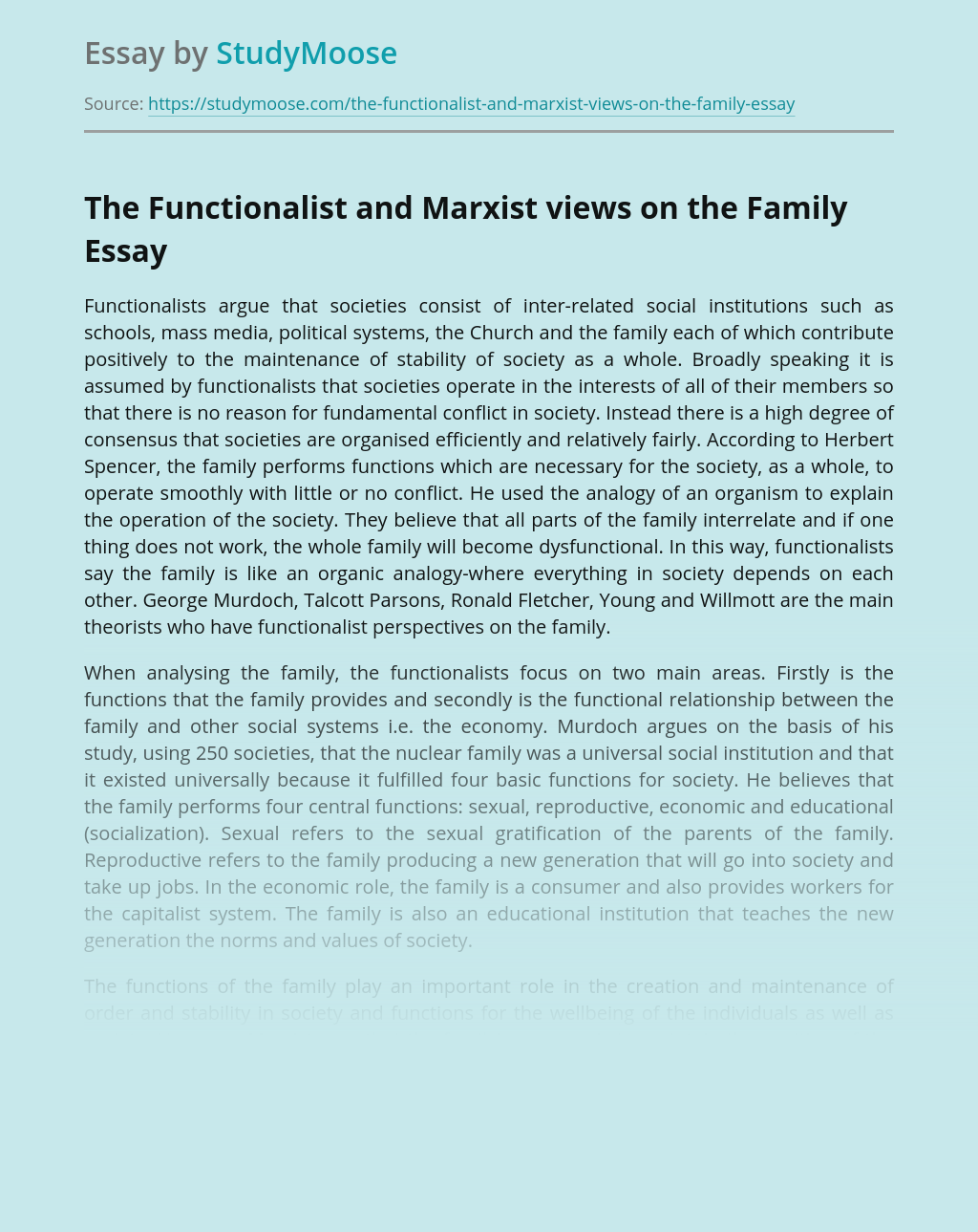 The Functionalist and Marxist views on the Family