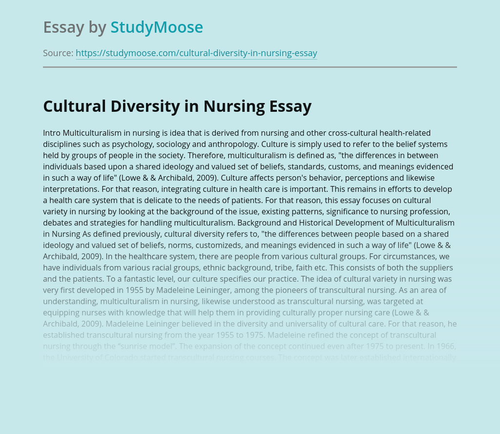 Cultural Diversity in Nursing