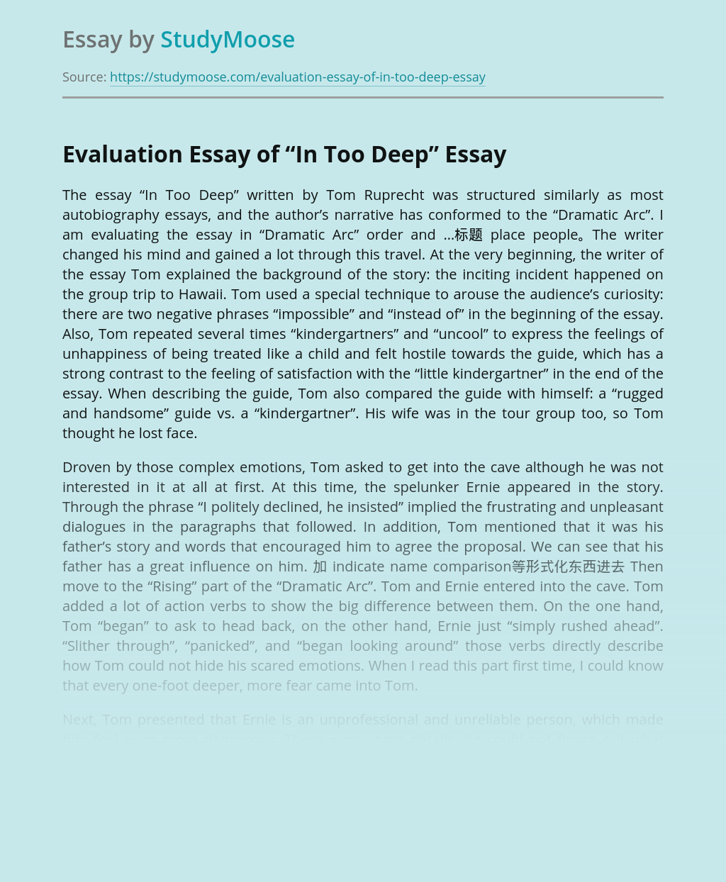 """Evaluation Essay of """"In Too Deep"""""""