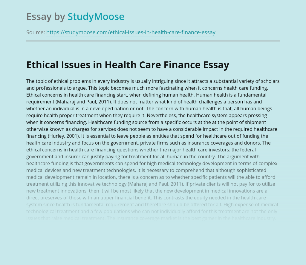 Ethical Issues in Health Care Finance