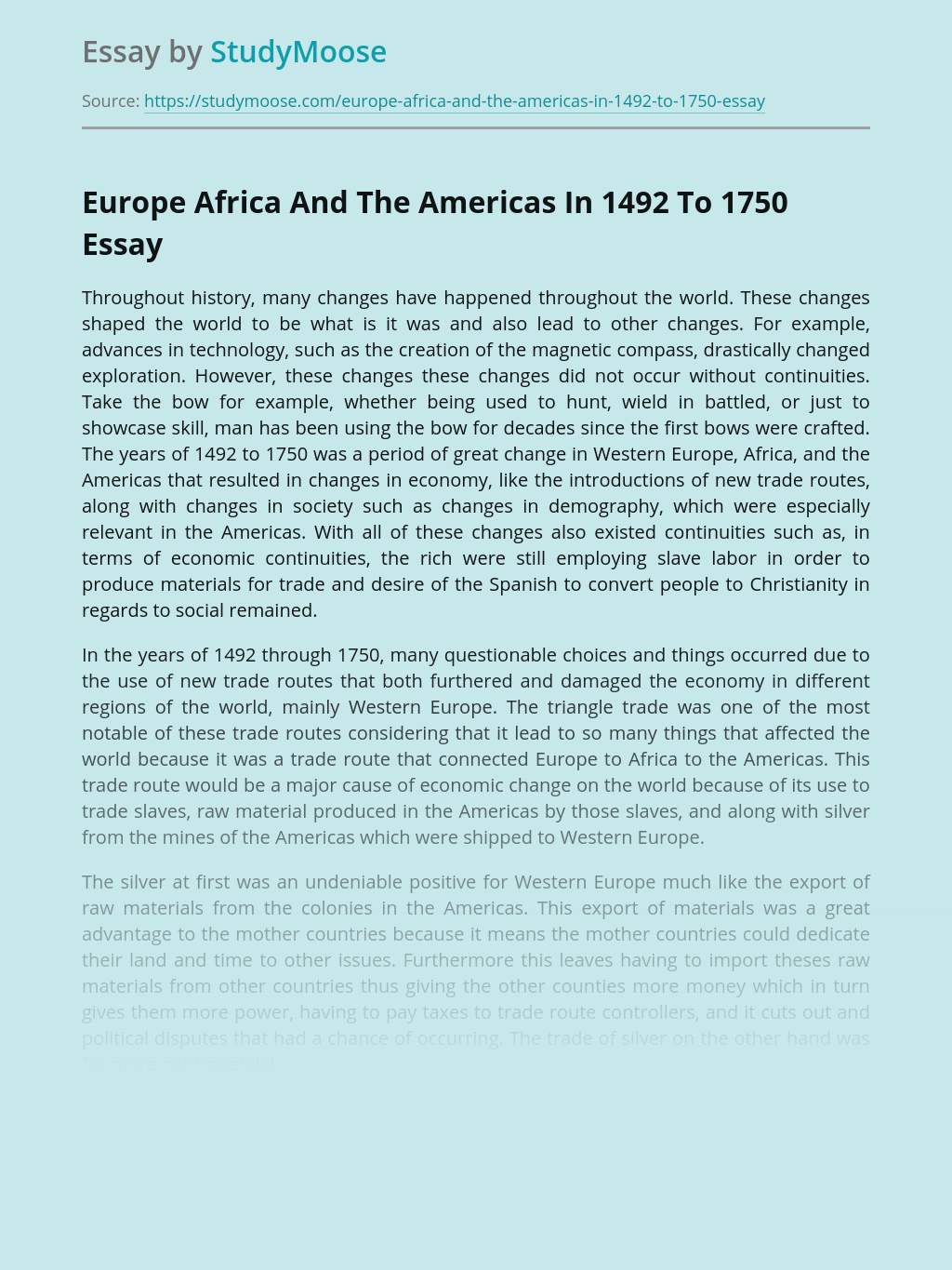 Europe Africa And The Americas In 1492 To 1750
