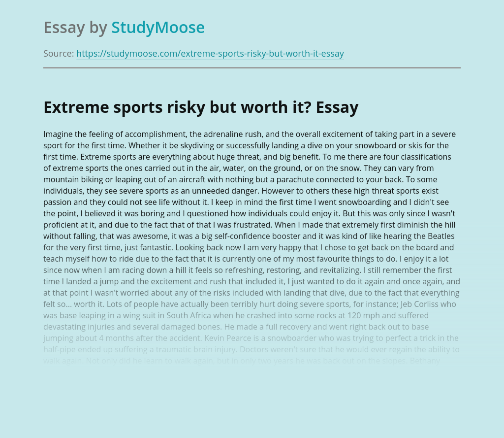 Extreme sports risky but worth it?