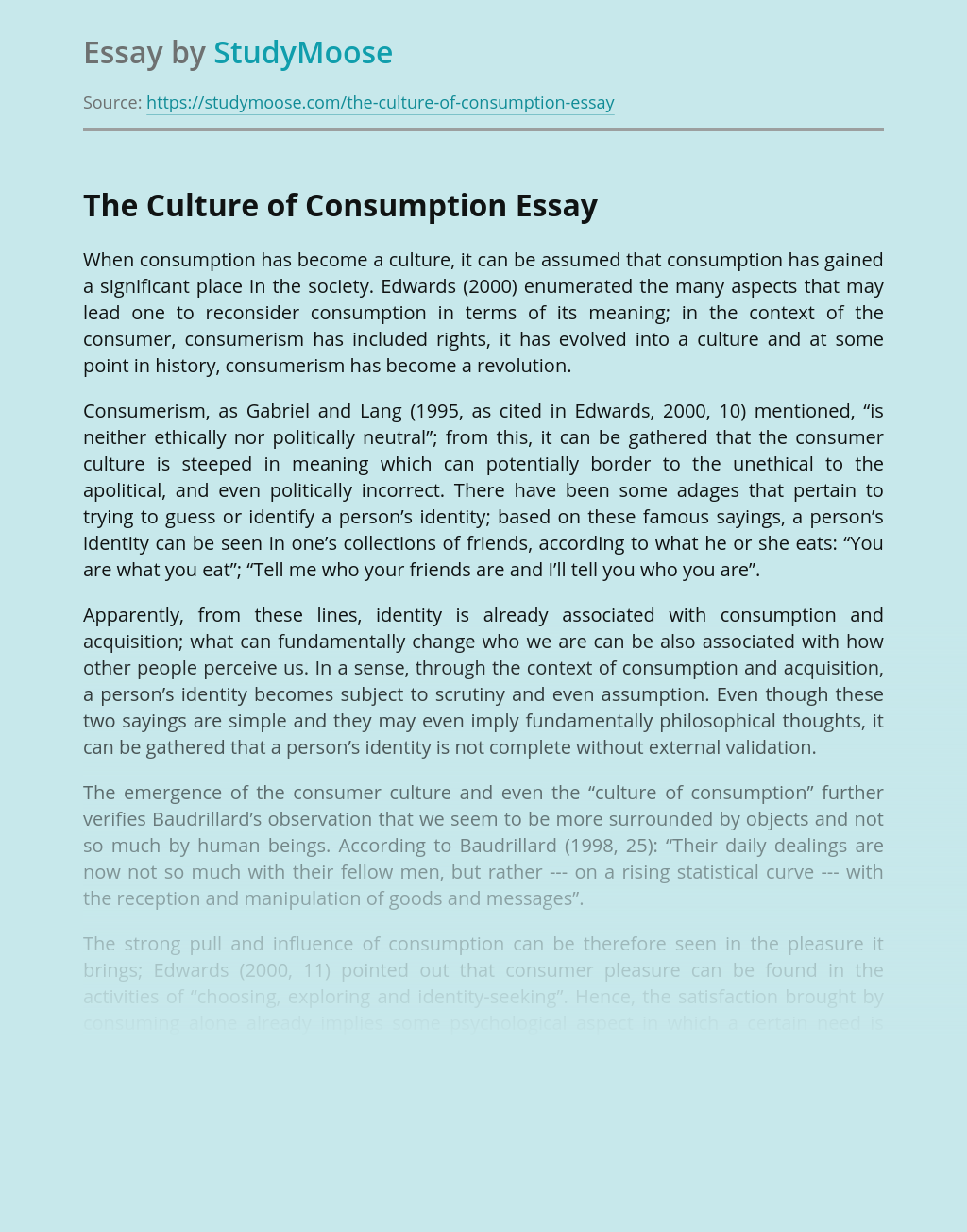 The Culture of Consumption
