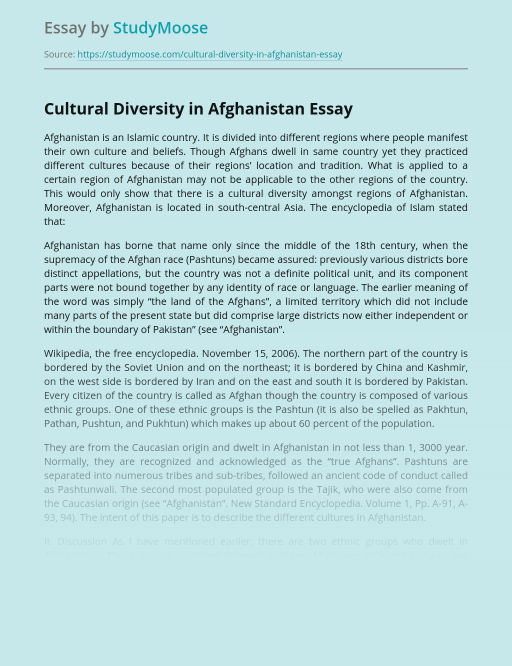Cultural Diversity in Afghanistan