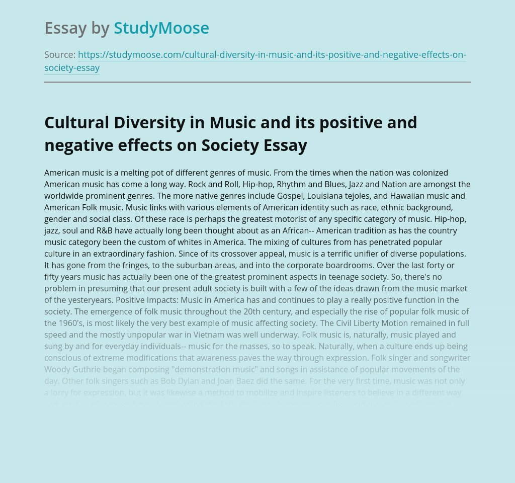 Cultural Diversity in Music and its positive and negative effects on Society