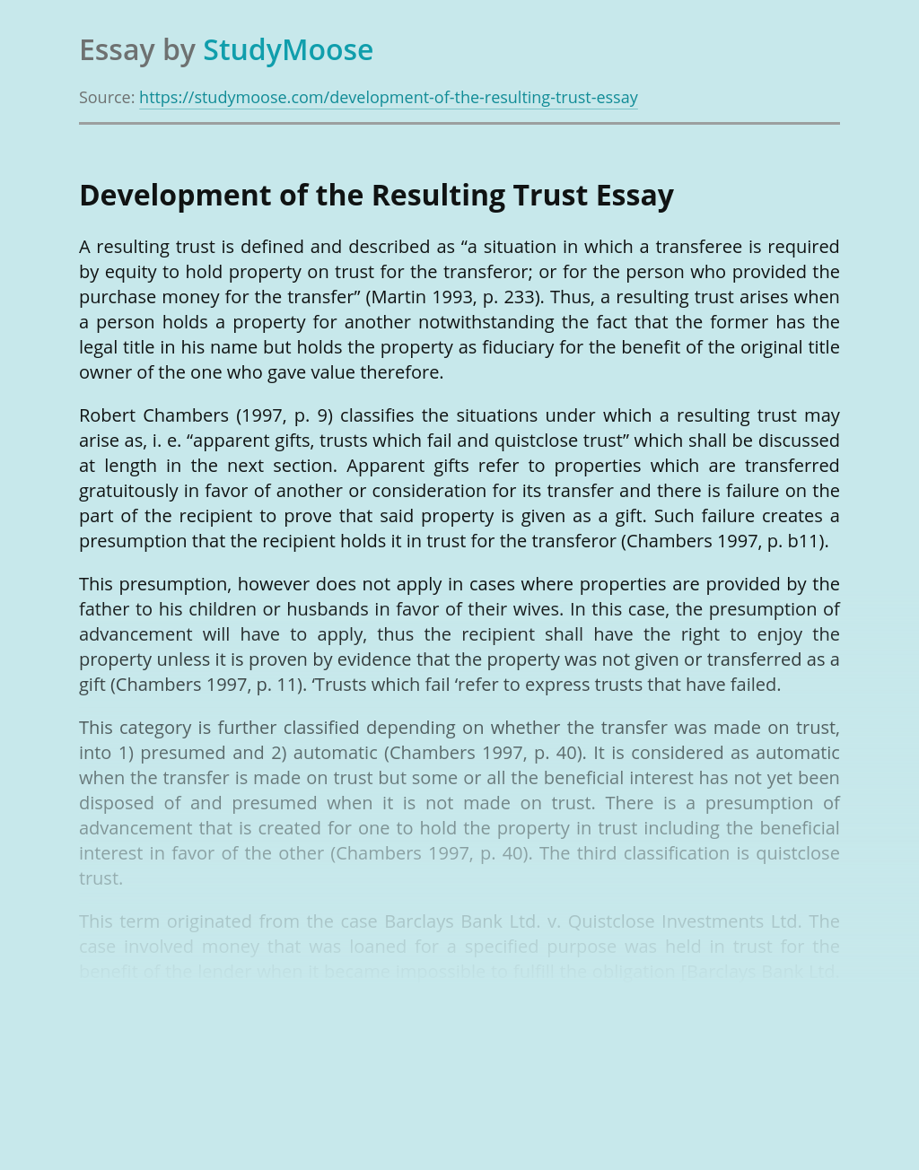 Development of the Resulting Trust