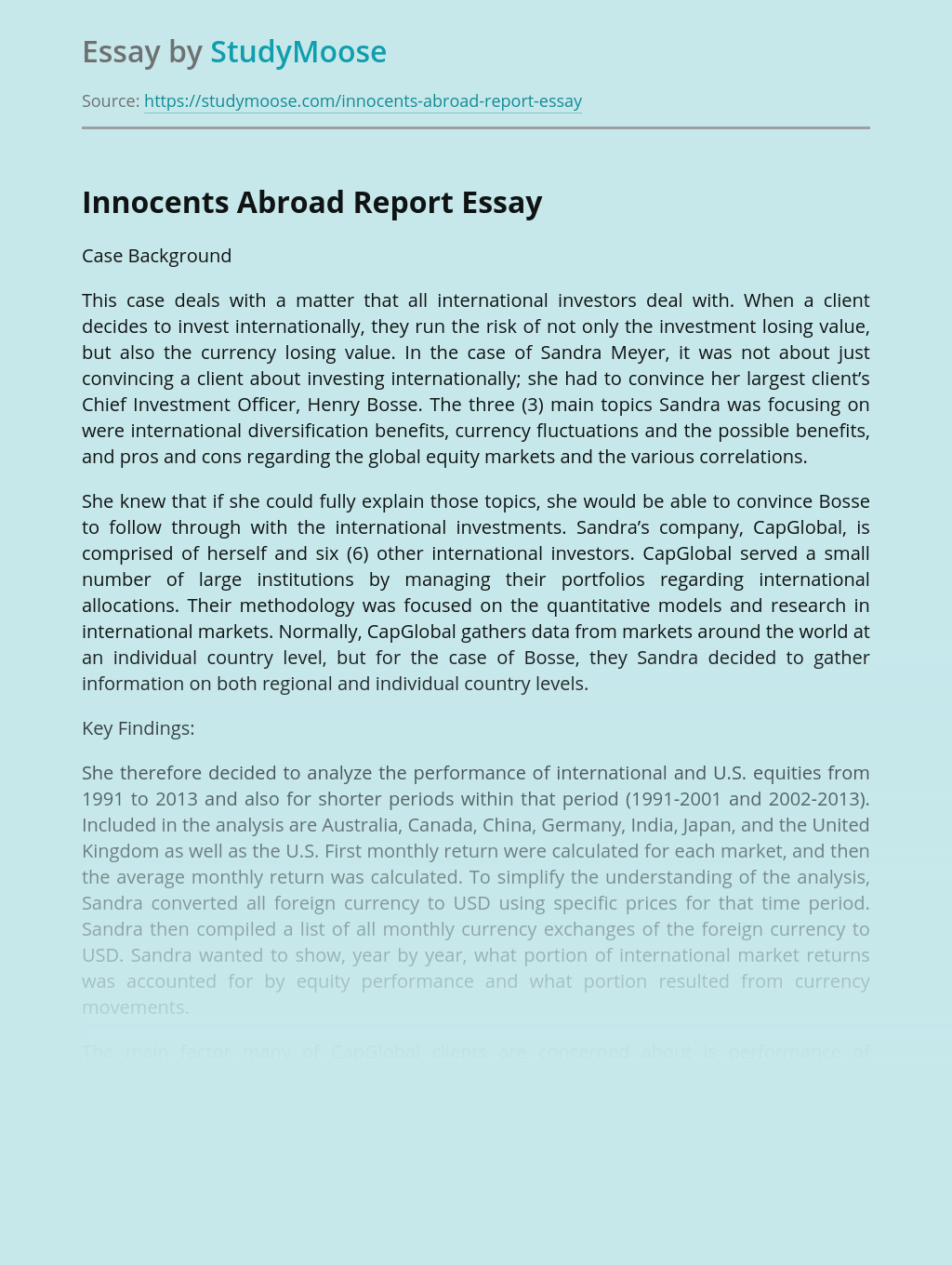 Innocents Abroad Report