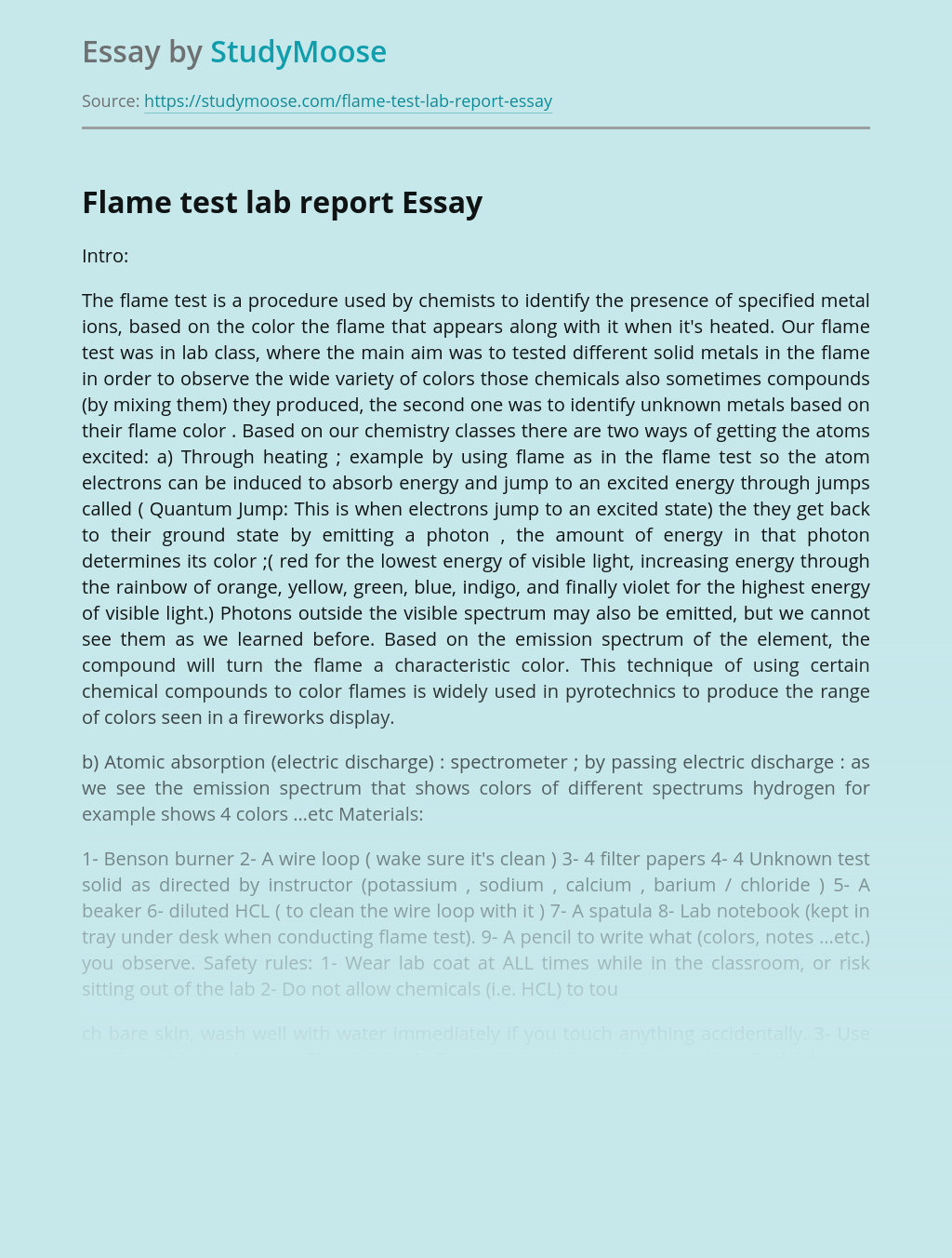 Flame test lab report