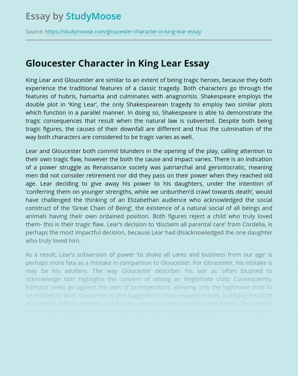 Gloucester Character in King Lear