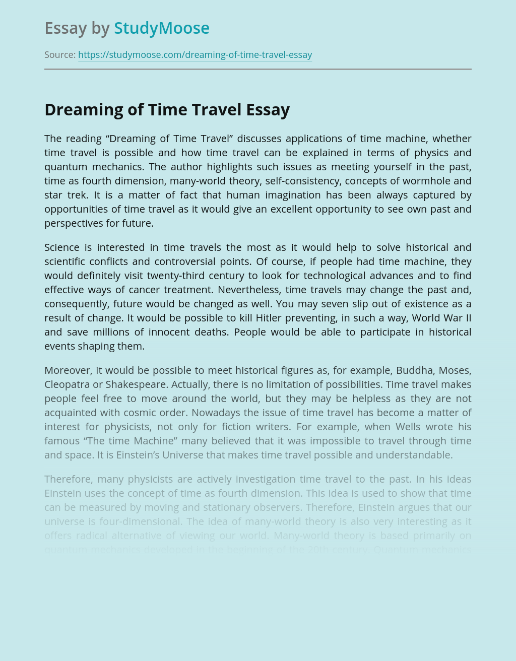 Dreaming of Time Travel