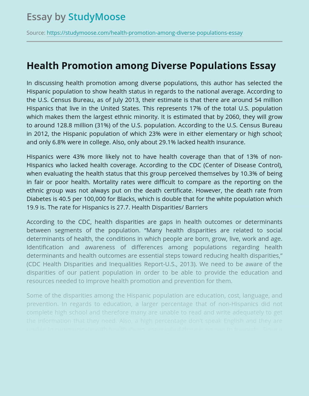 Health Promotion among Diverse Populations