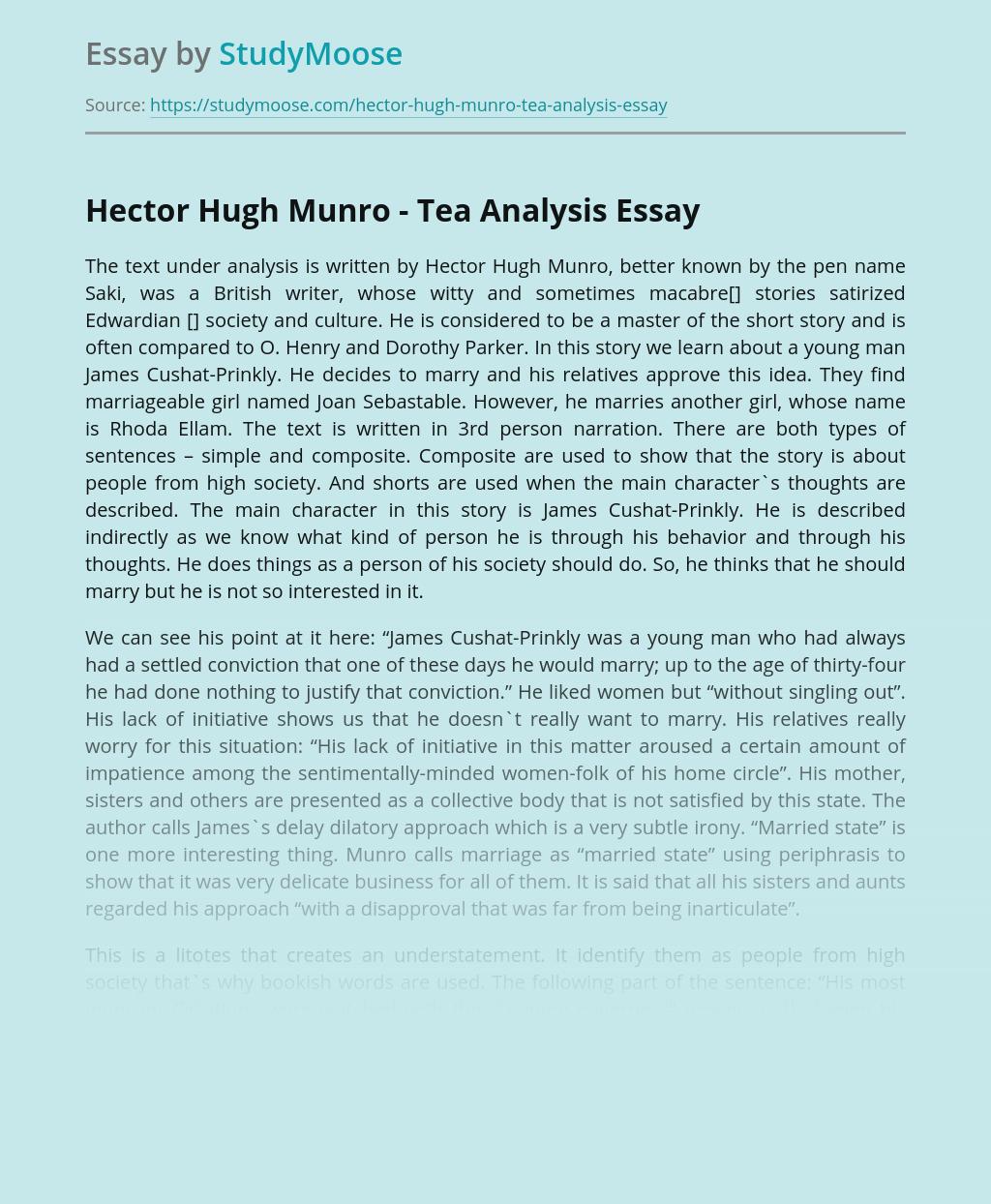 Hector Hugh Munro - Tea Analysis