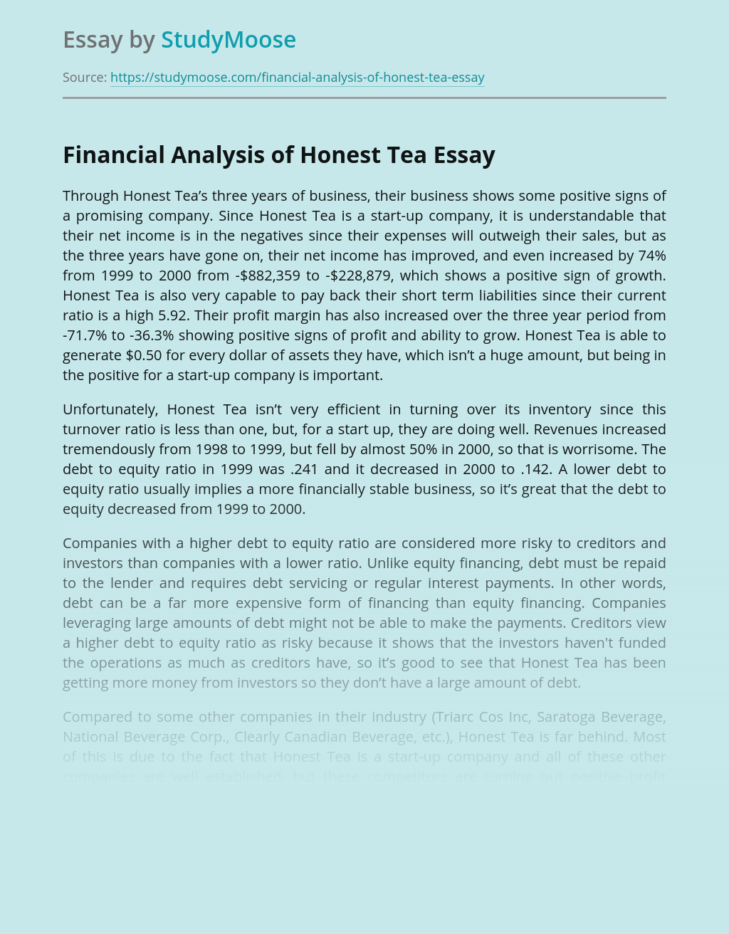 Financial Analysis of Honest Tea