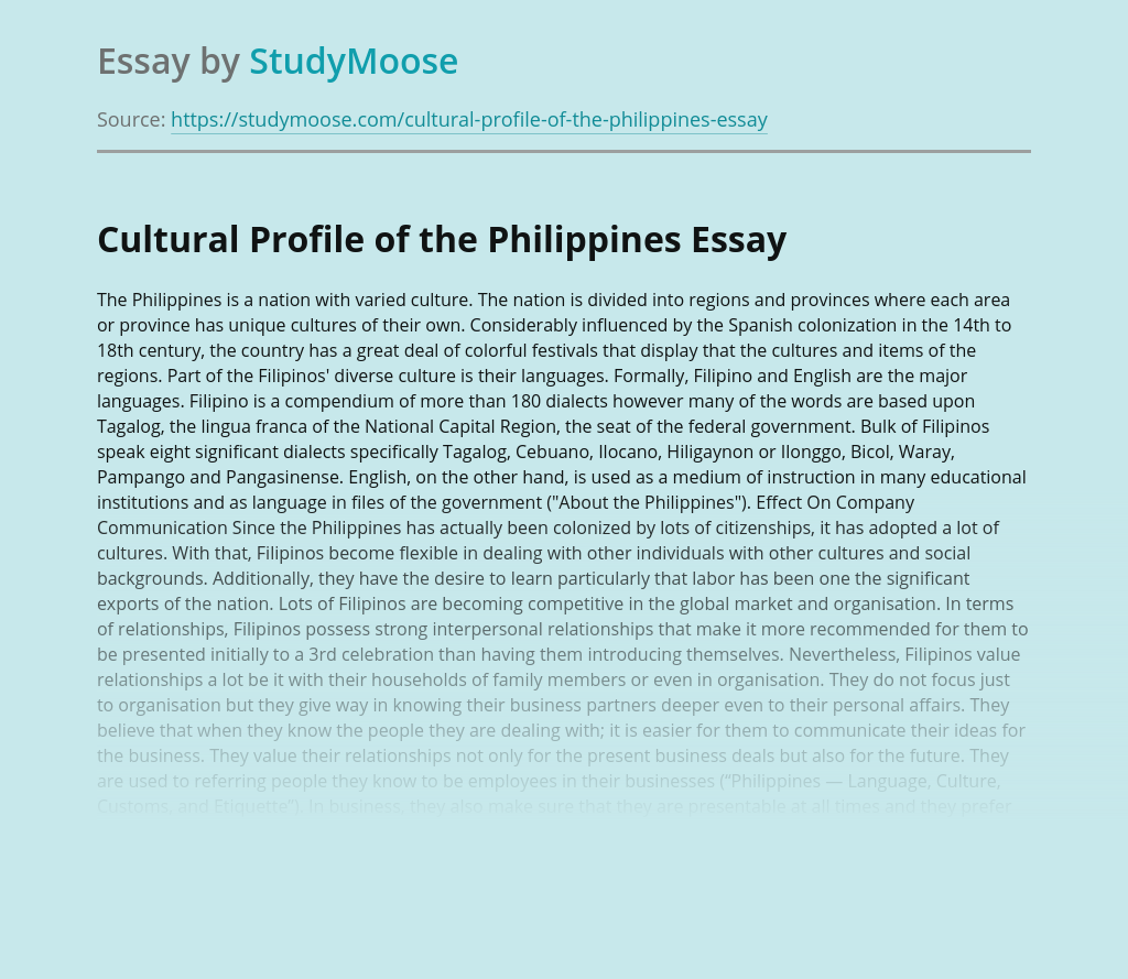 Cultural Profile of the Philippines
