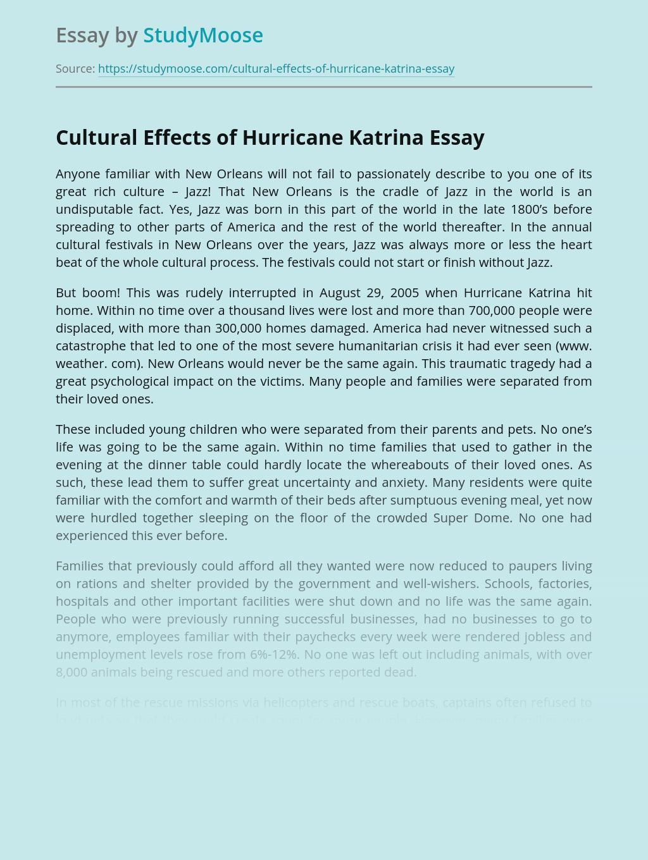 Cultural Effects of Hurricane Katrina