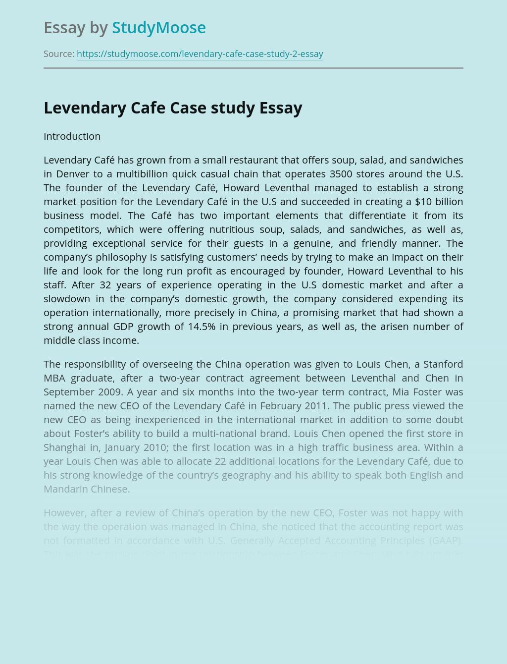 Levendary Cafe Case study