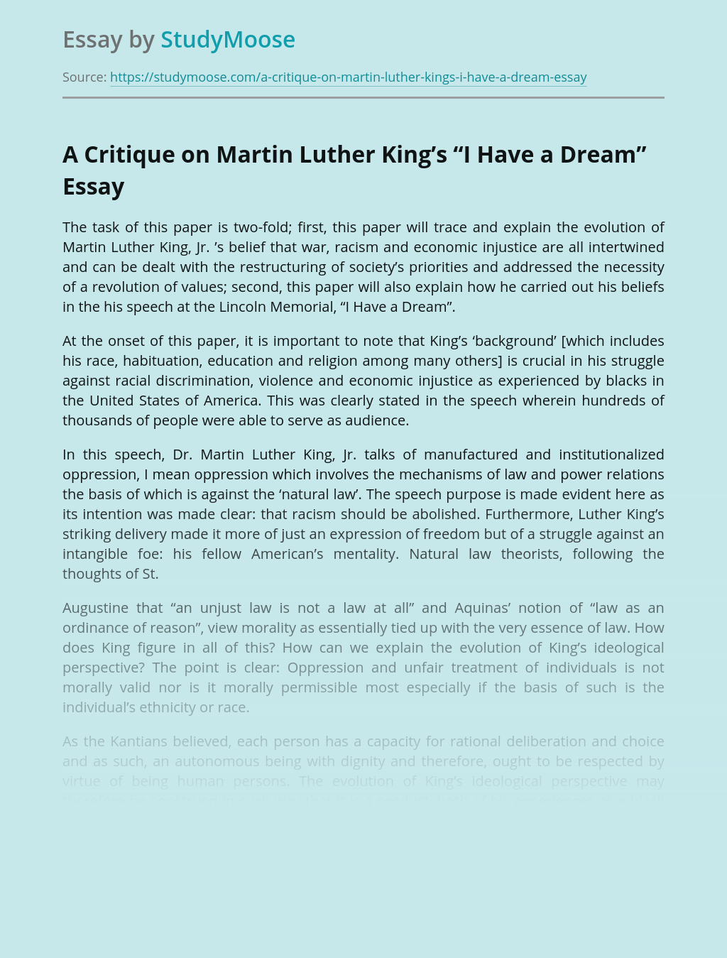 "A Critique on Martin Luther King's ""I Have a Dream"""