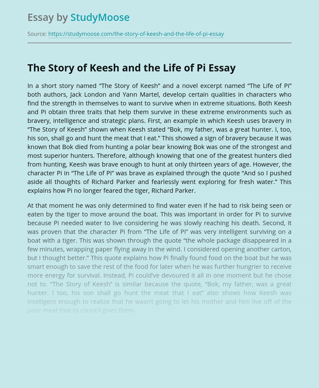 The Story of Keesh and the Life of Pi