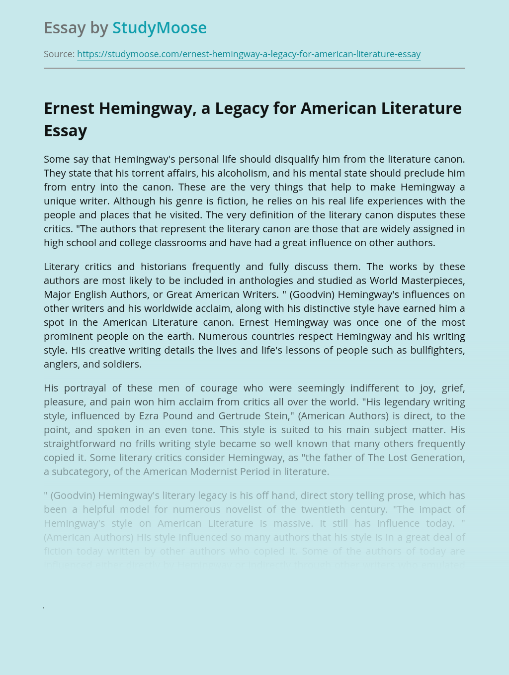 Ernest Hemingway, a Legacy for American Literature