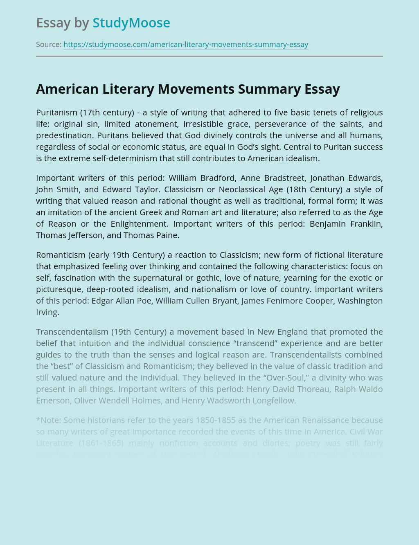 American Literary Movements Summary