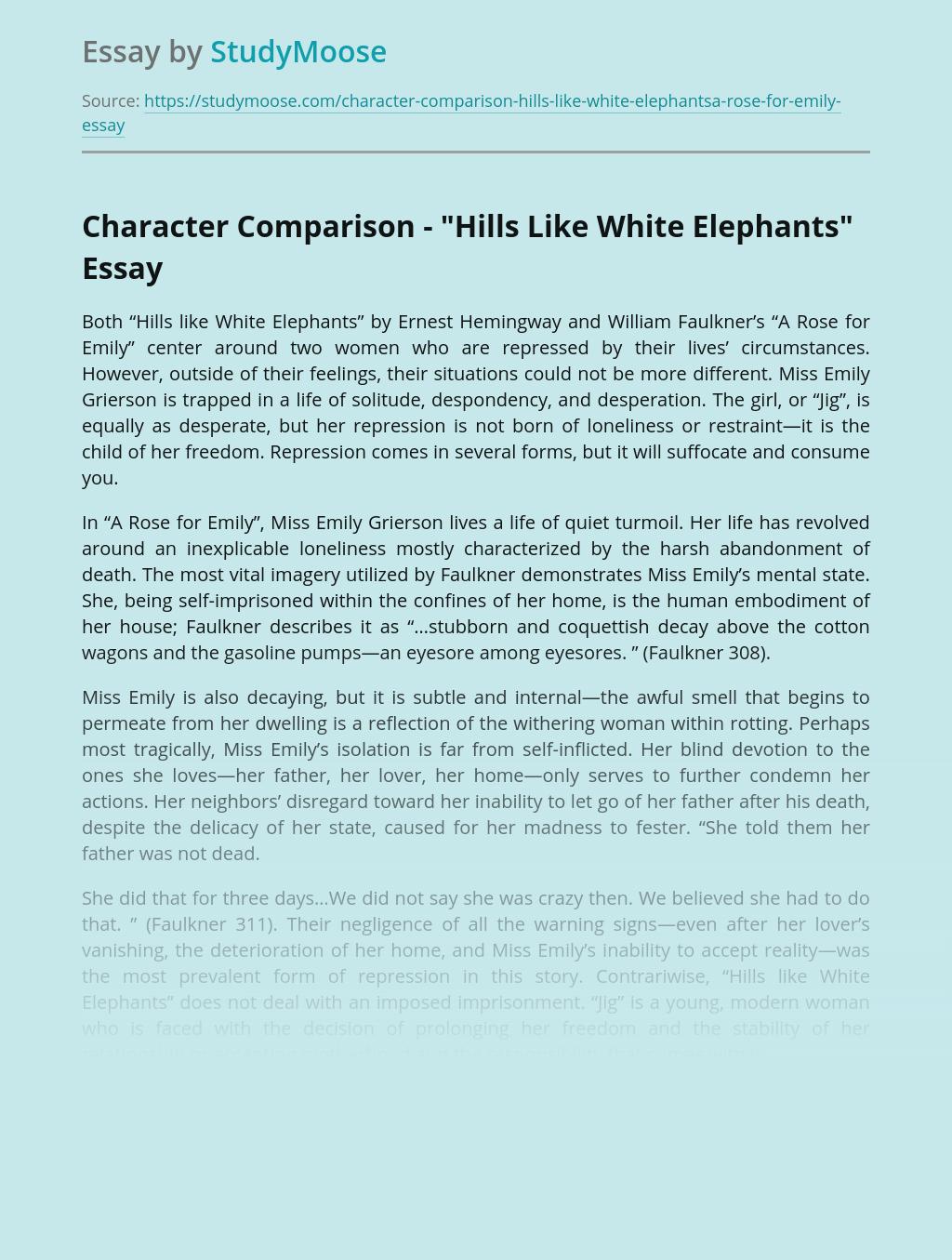 "Character Comparison - ""Hills Like White Elephants"""