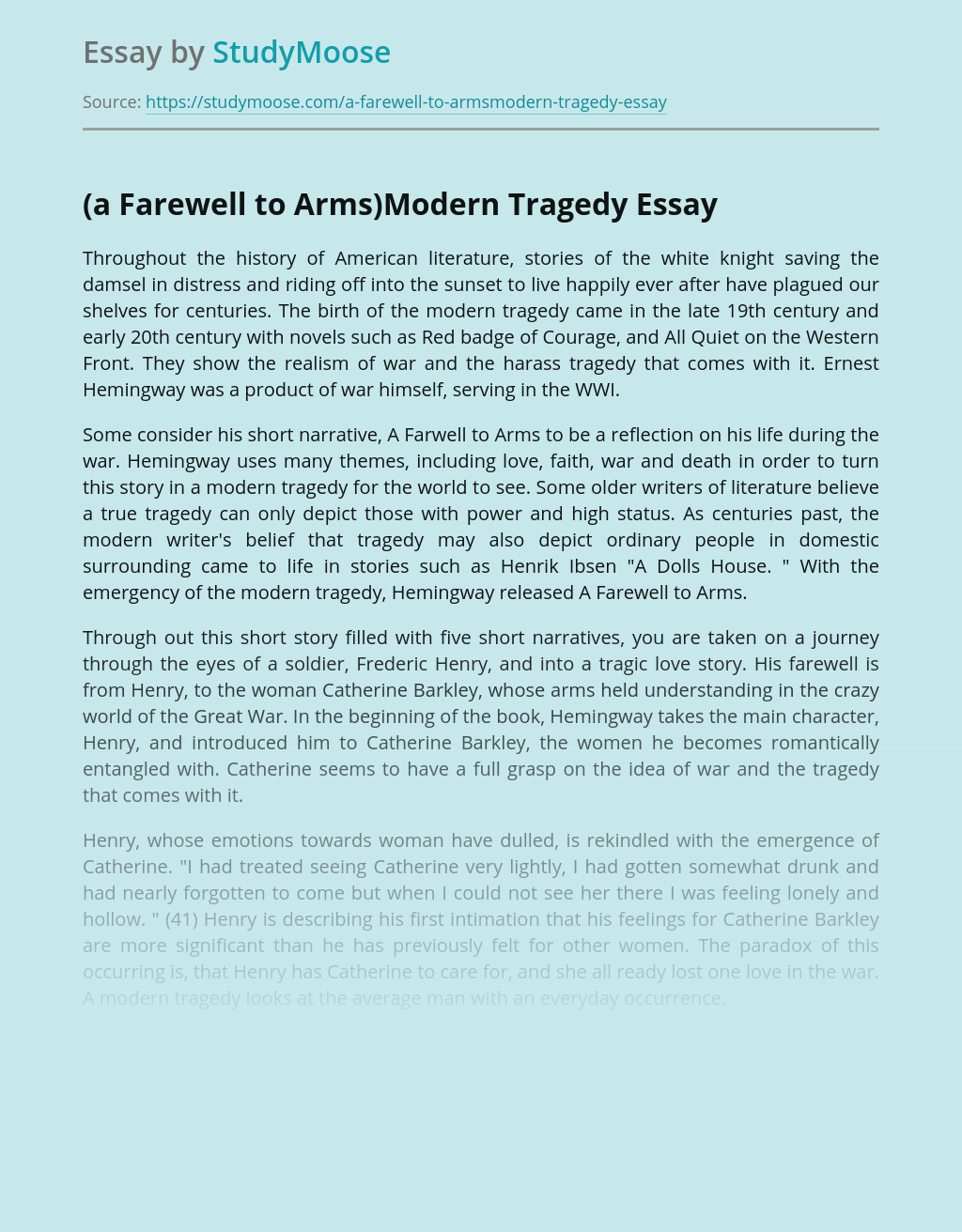War and Faith in A Farewell to Arms