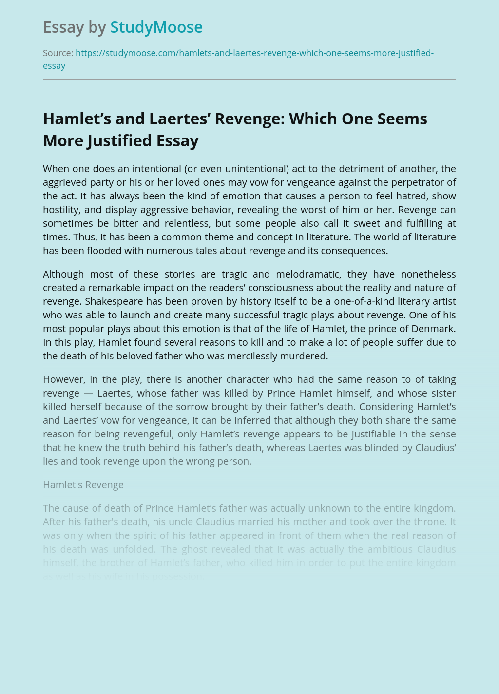 Hamlet's and Laertes' Revenge: Which One Seems More Justified