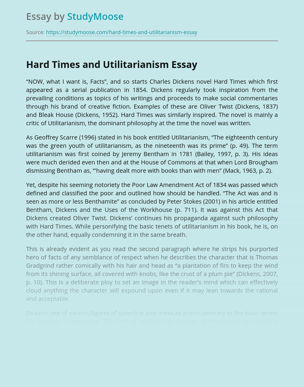 Hard Times and Utilitarianism