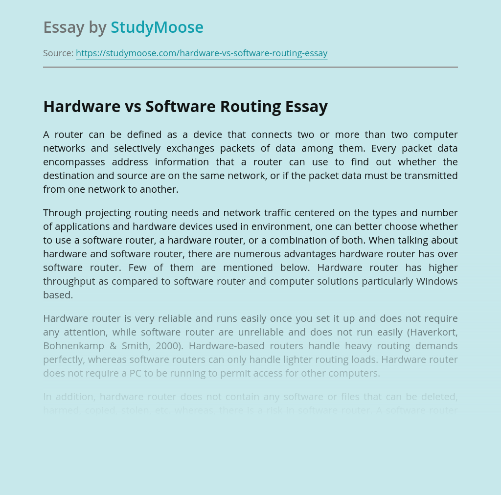 Hardware vs Software Routing
