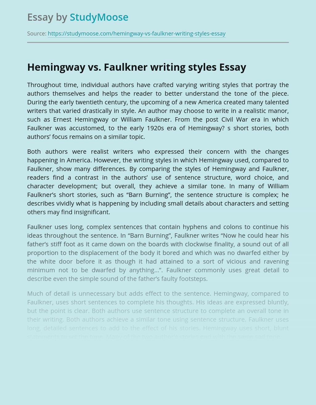 Hemingway vs. Faulkner writing styles