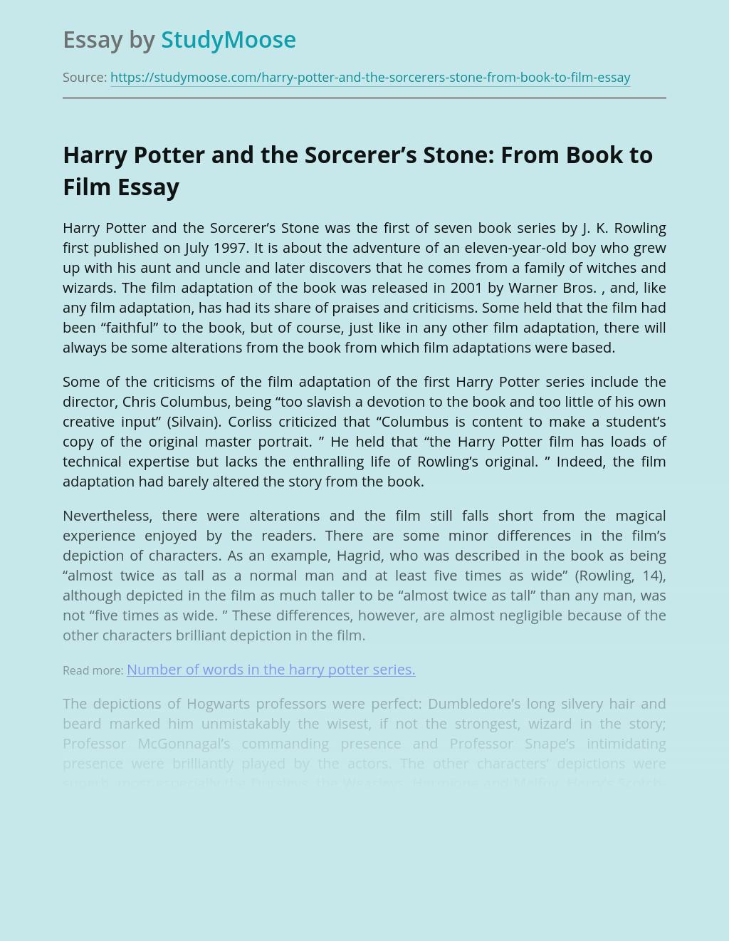 Compare contrast essay harry potter book vs movie thesis child labor pakistan