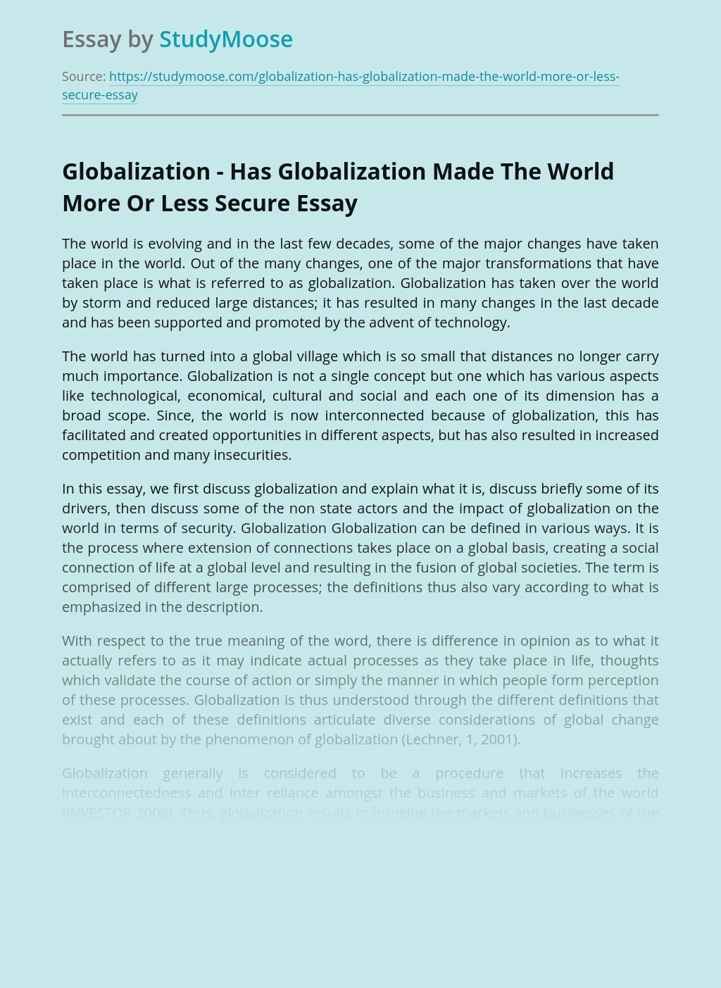 Globalization - Has Globalization Made The World More Or Less Secure