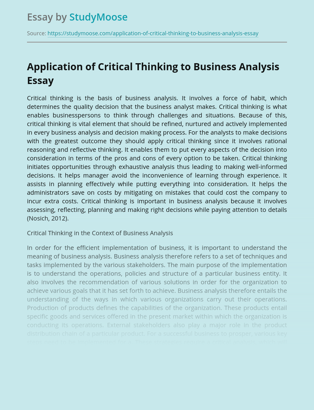 Application of Critical Thinking to Business Analysis