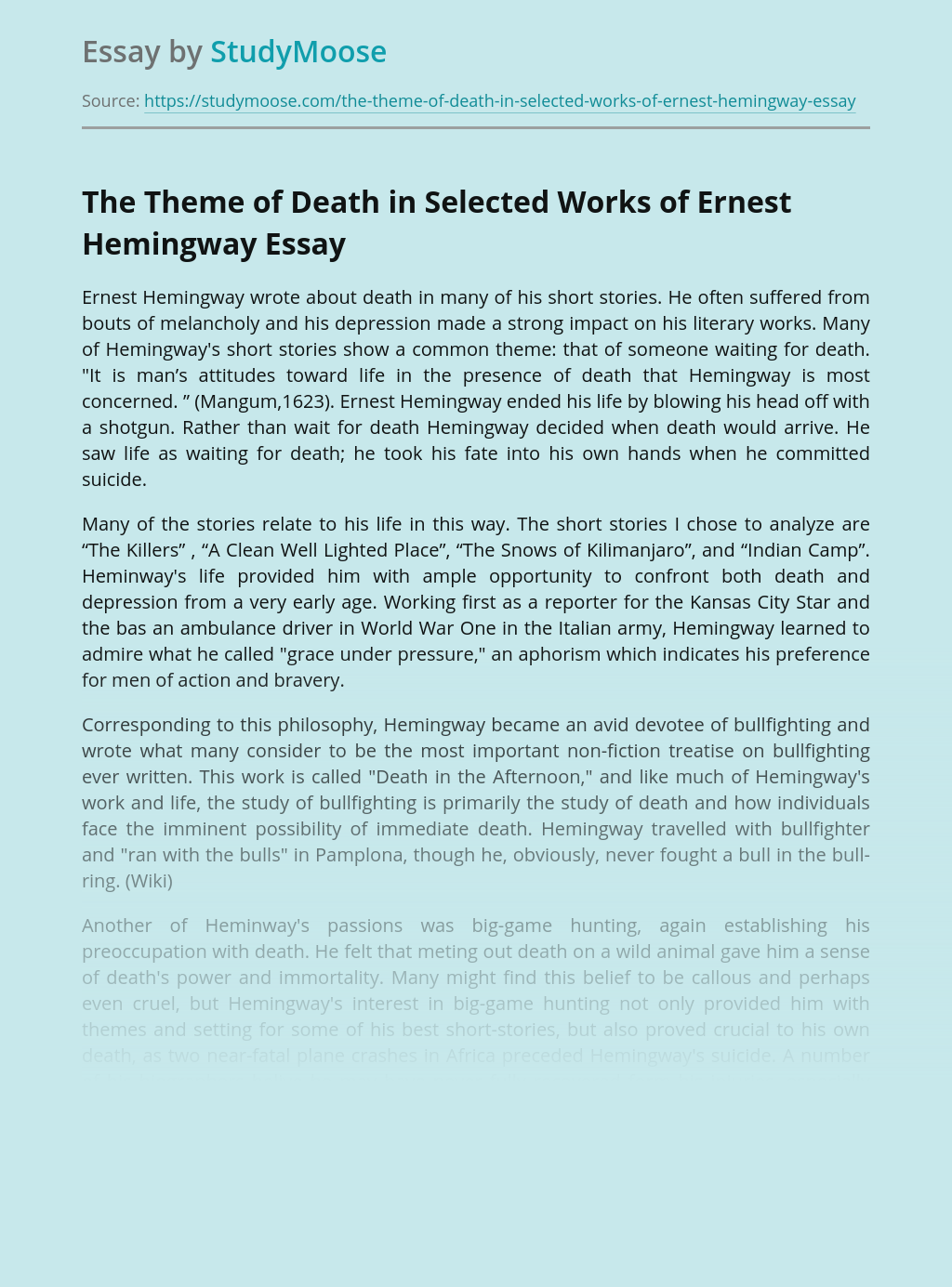 The Theme of Death in Selected Works of Ernest Hemingway