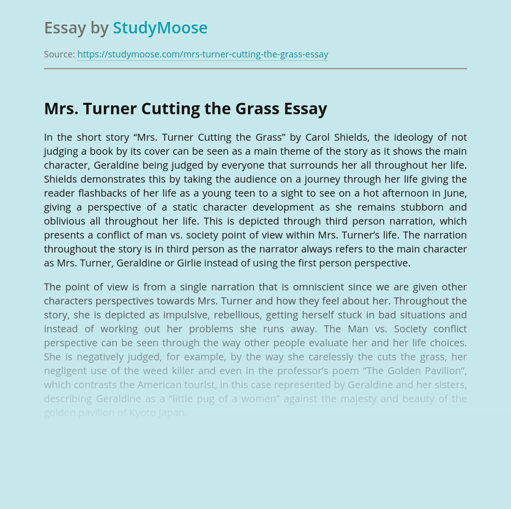 """Mrs. Turner Cutting the Grass"" by Carol Shields"