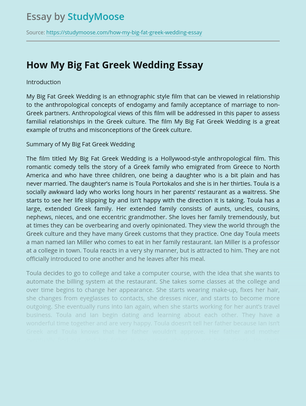 How My Big Fat Greek Wedding
